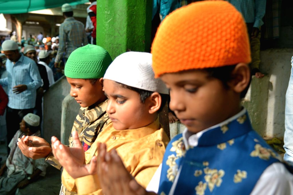 Children offer Eid-ul-Fitr namaz in Ajmer on June 5, 2019.