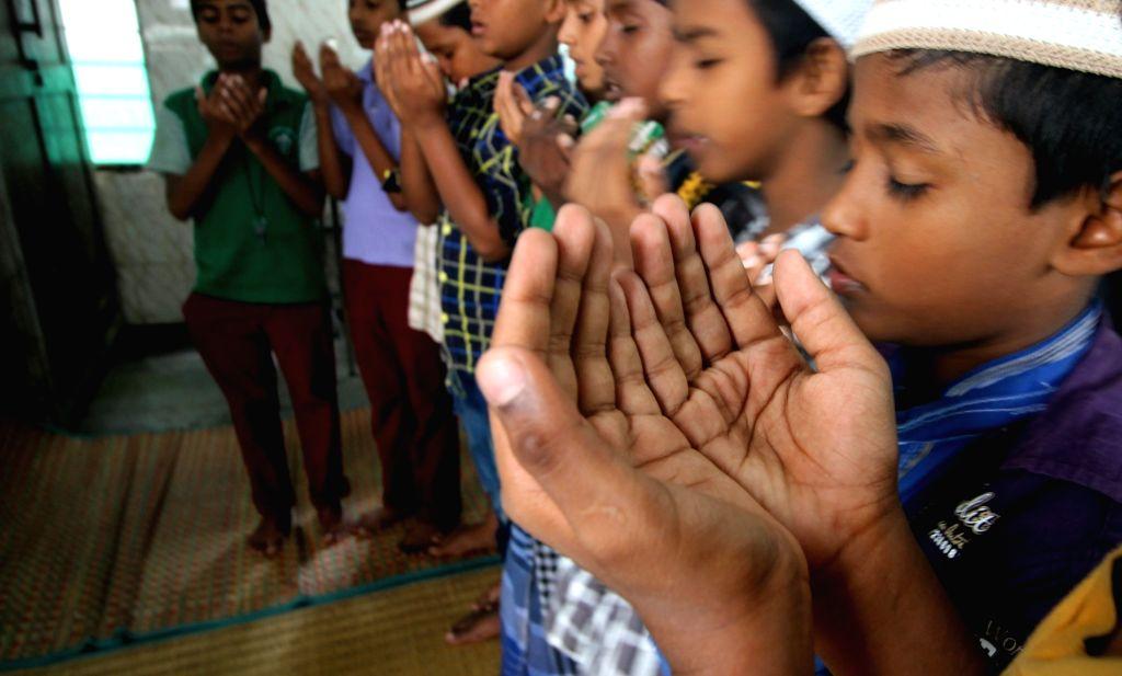 Children offer namaz during Ramadan in Chennai on July 1, 2016.