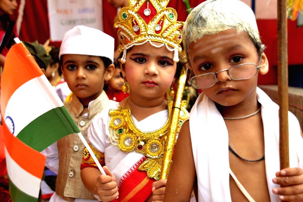 Children participate during a programme organised to celebrate Independence Day at a school in Ajmer, Rajasthan on Aug 13, 2016.