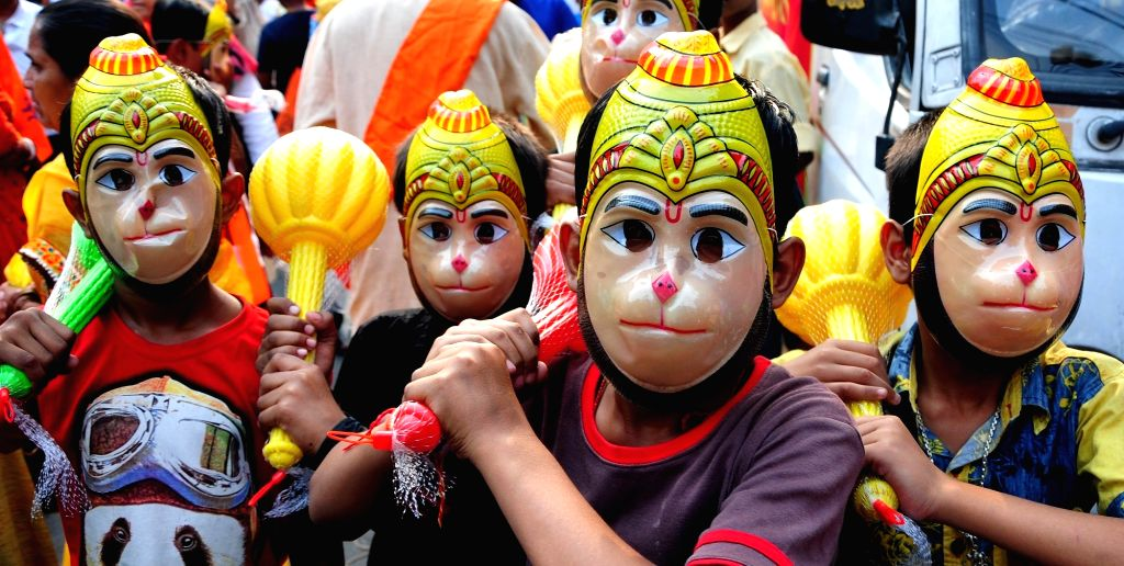 Children participate in a BJP rally on Ram Navami in Kolkata, on March 25, 2018.