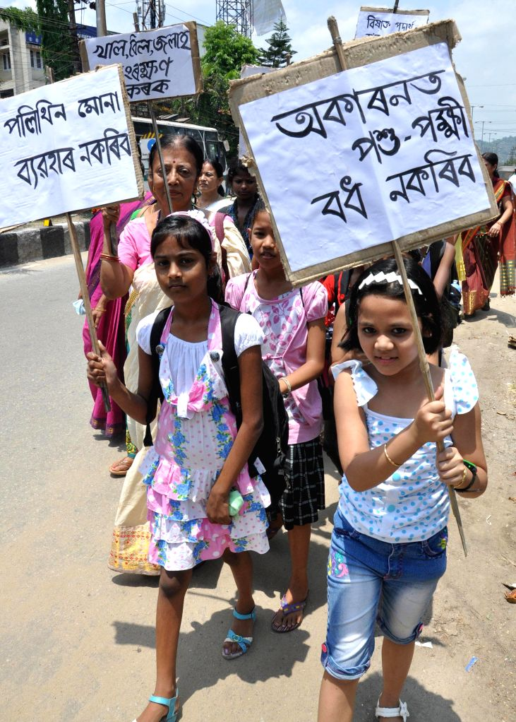 Children participate in a nature awareness  rally organised by Asom Prakritik Kabi Sanmillan on their Silver Jubilee Celebrations in Guwahati on May 11, 2014.