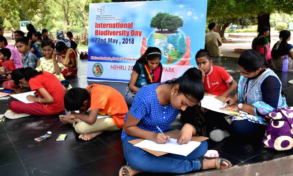 Children participate in a painting competition organised on the occasion World Biodiversity Day, at Nehru Zoological Park in Hyderabad on May 22, 2018.