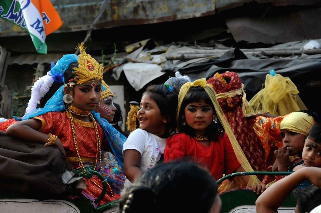 Children participate in a programme organised on the eve of Bengali New Year in Kolkata, on April 13, 2016.