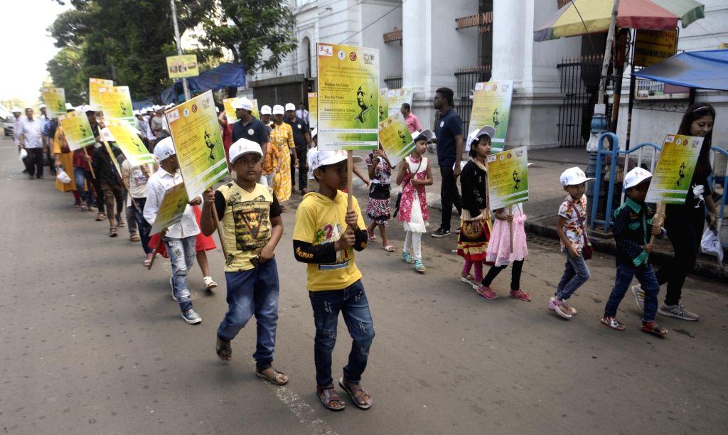 Children participate in a rally organised on the occasion of 'Rashtriya Ekta Diwas' - birth anniversary of the country's first Home Minister Sardar Vallabhbhai Patel in Kolkata, on Oct 31, ... - Sardar Vallabhbhai Patel