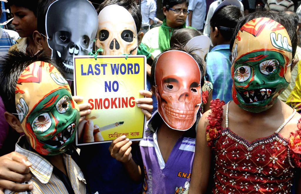 Children participate in an awareness programme organised on World No Tobacco Day in Kolkata, on May 31, 2016.