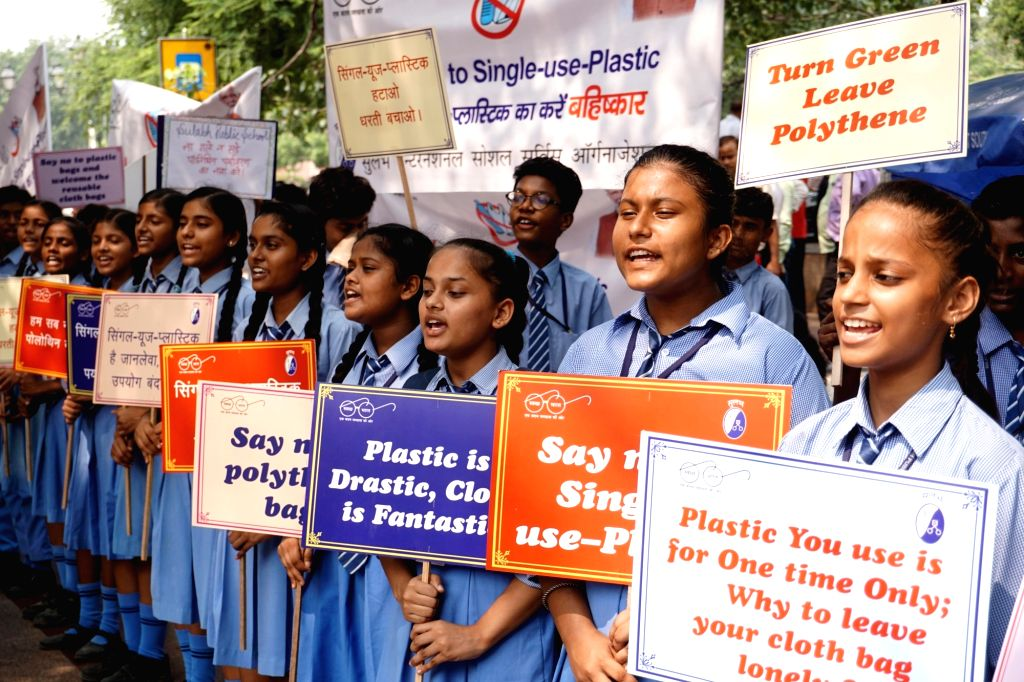 "Children participate in ""Say No To Single Use Plastic"" campaign organsied by Sulabh International at Connaught Place in New Delhi on Sep 12, 2019."