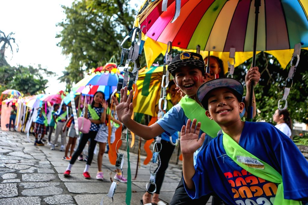 Children participate in the Children's Parade in Manila, the Philippines, Jan. 25, 2020. The Children's Parade was organized in celebration of the 25th anniversary ...