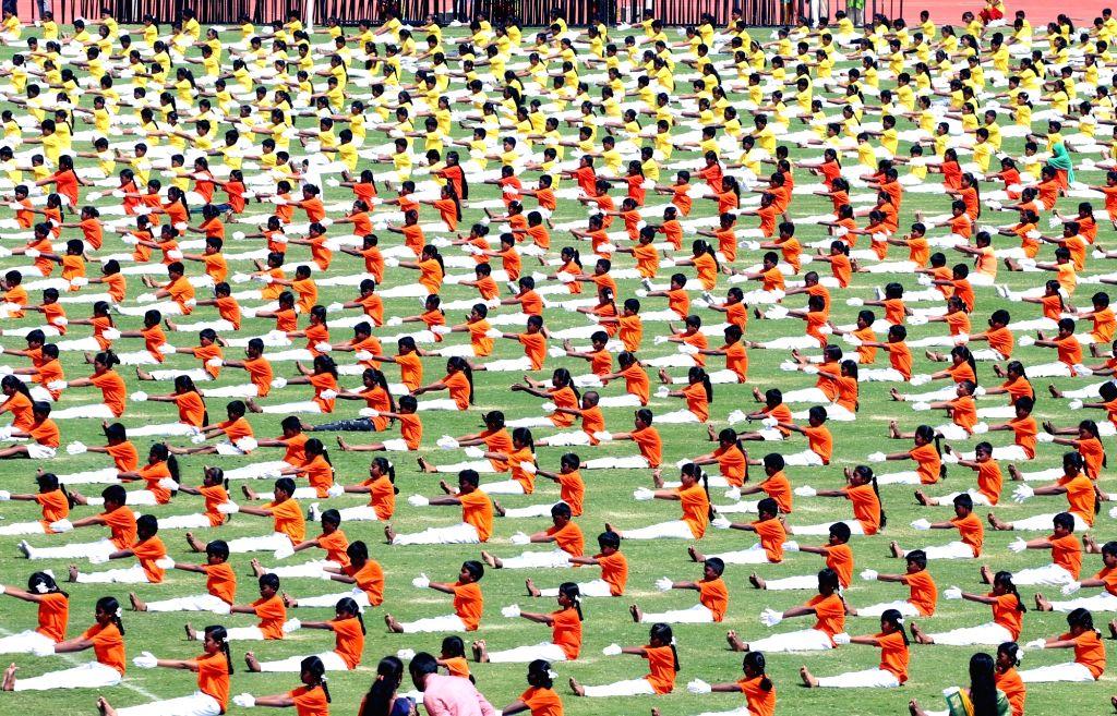 Children perform during 63rd Kannada Rajyotsava Day (Karnataka State Formation day) function at Kanteerava Stadium, in Bengaluru on Nov. 1, 2018.