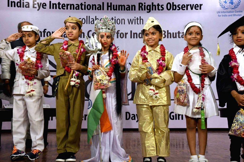 Children perform during a programme organisied to observe International Day of the Girl Child in New Delhi, on Oct 16, 2016.