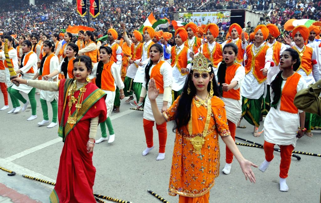 Children perform during Republic Day celebrations at Attari-Wagah Border in Punjab on Jan 26, 2018.