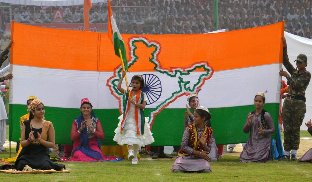Children performs on the occasion of 69th ``Independence Day`` celebration in Amritsar, on Aug 15, 2015.