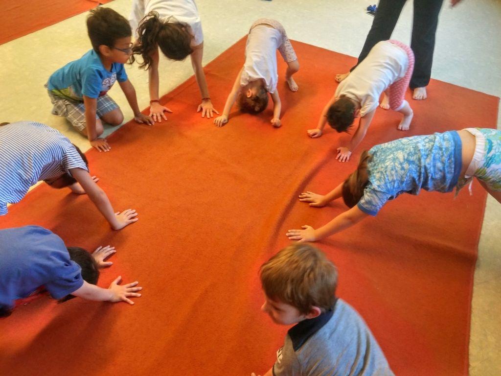 Children practice Yoga in Gradiska town of Hungary on June 21, 2017.