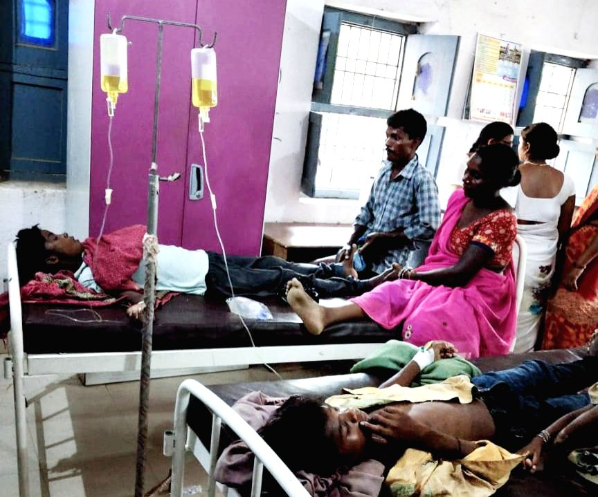 Children struck by lightning being treated at a hospital in Nawada, Bihar on July 19, 2019. Eight children were killed after being electrocuted.