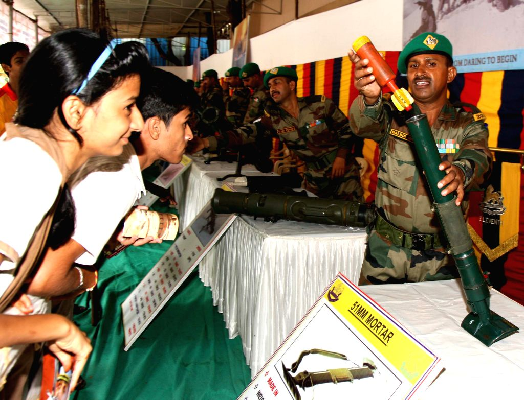 Children visit during an Army weapon expo on the occasion of 69th Independence Day celebration in Mumbai on August 15, 2015.