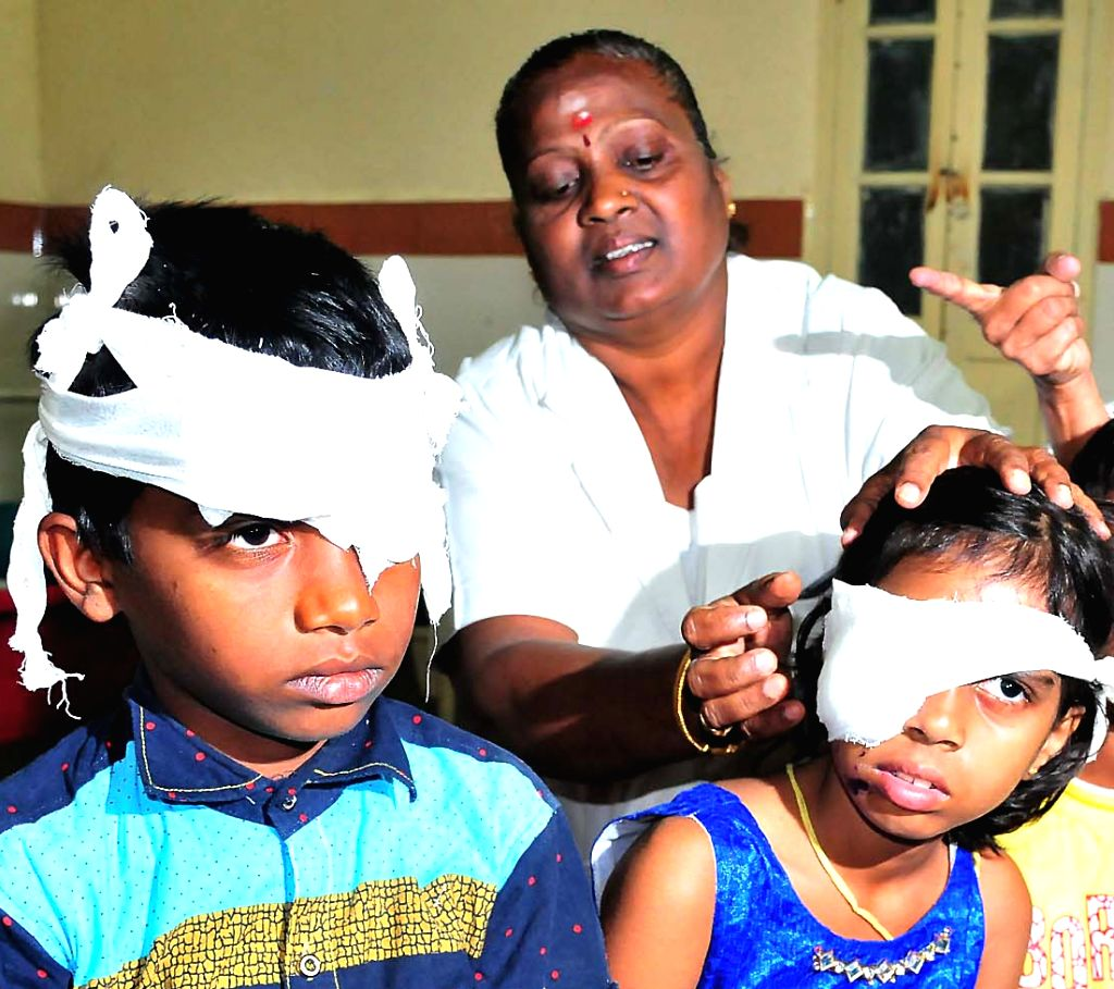 Children who sustained eye injury while bursting crackers being treated at a Bengaluru hospital on Oct 31, 2016.