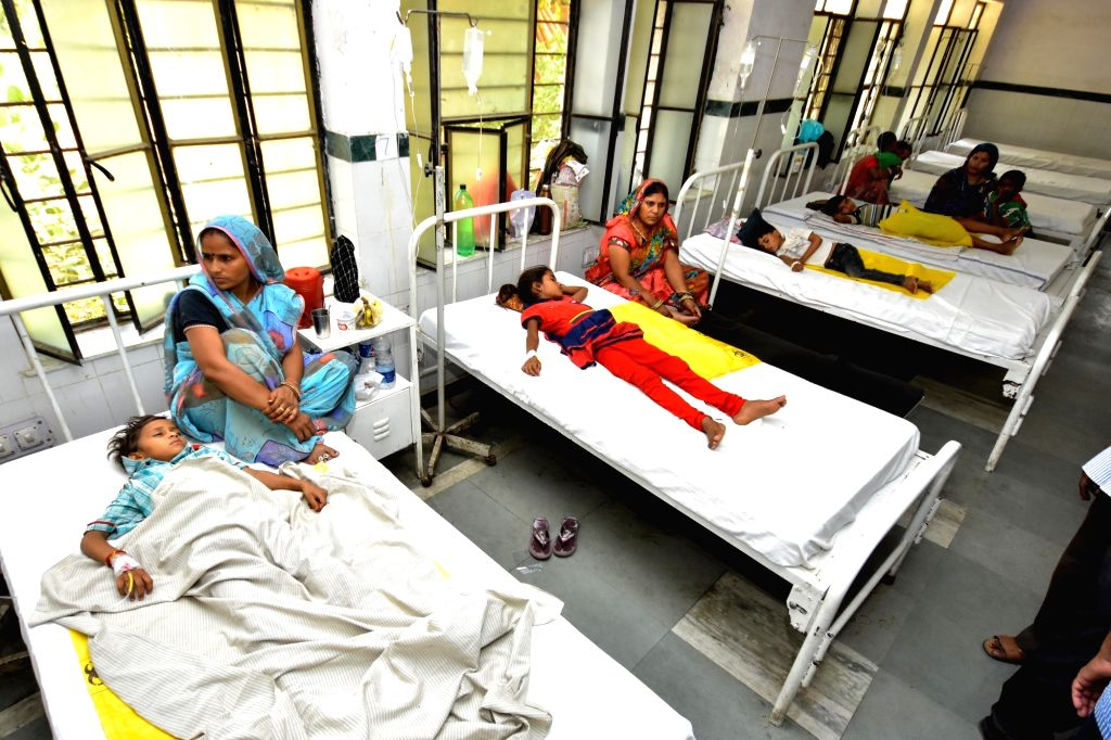 Children who were taken ill after consuming contaminated water being treated at a Jaipur hospital on May 7, 2016.
