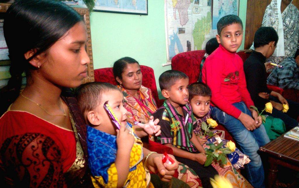 Children who were trafficked from Tripura to Bangladesh and returned after 24 days, visit Bangladesh Visa Office in Agartala to convey their thanks to the Bangladeshi government on Nov 17, ...