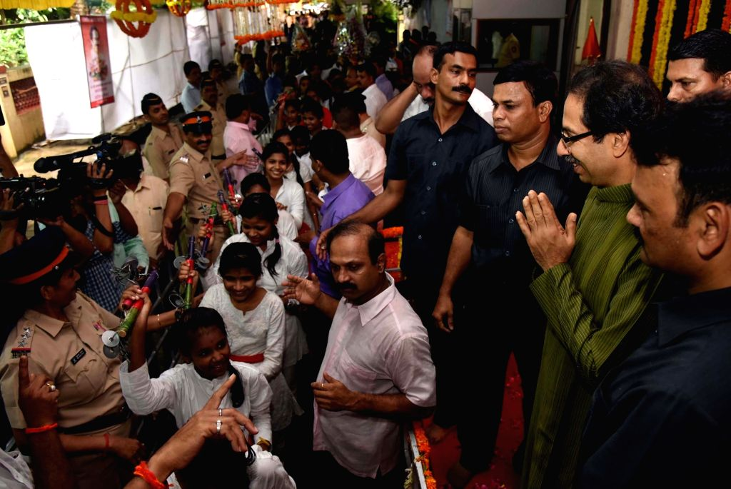 Childrens greets Shiv Sena chief Uddhav Thackeray on his birthday in Mumbai on July 27, 2016.