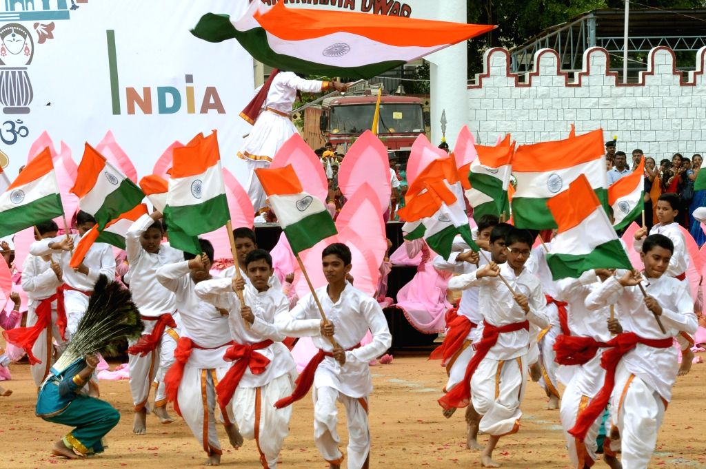 """Childrens perfom on the occasion of 70th """"Independence Day"""" celebration in Bengaluru on Aug 15, 2016."""
