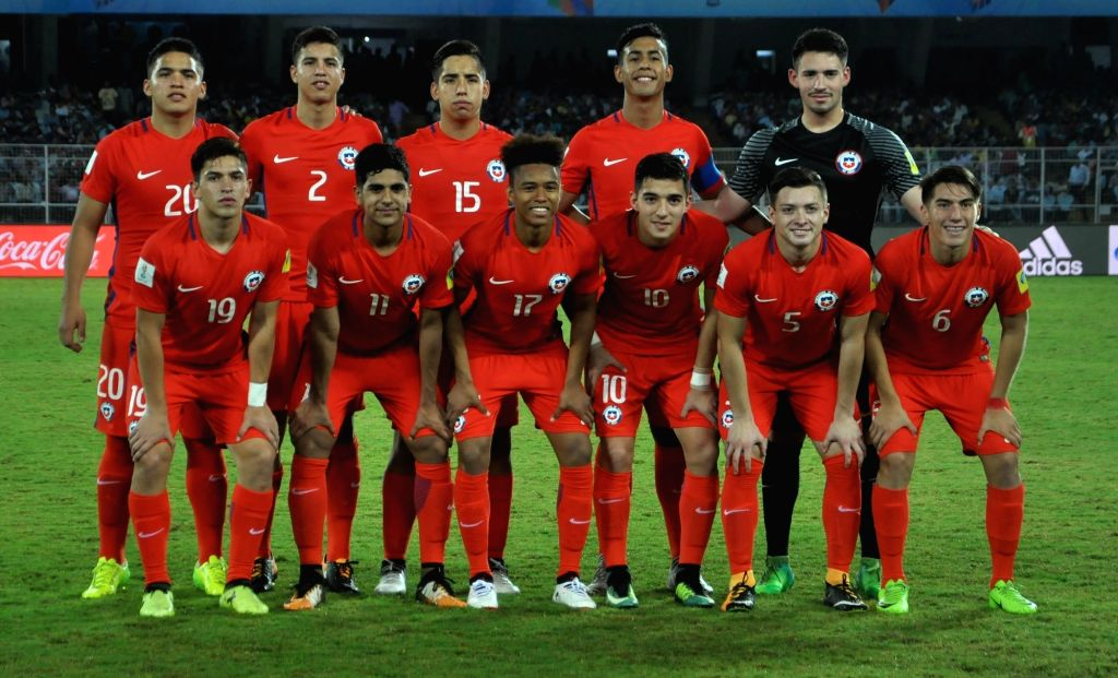 Chile players ahead of a FIFA U-17 World Cup India 2017 Group F match against Iraq at Salt Lake Stadium in Kolkata on Oct 11, 2017.