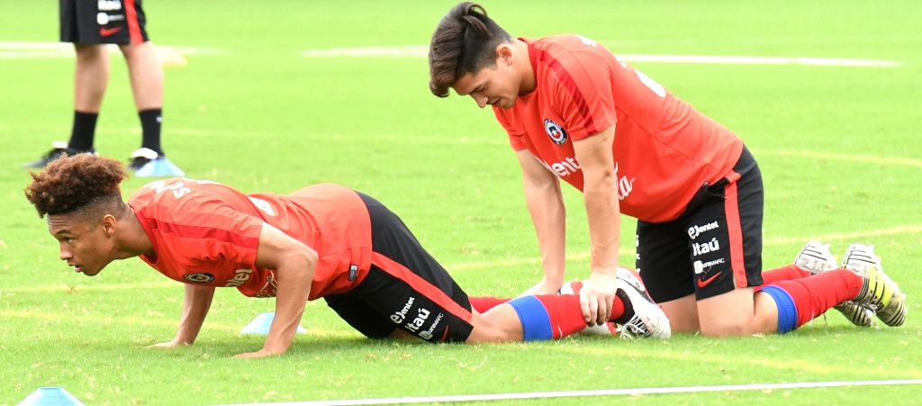 Chile players in action during a practice session ahead of FIFA U17 World Cup at Salt Lake Stadium in Kolkata on Oct 7, 2017.