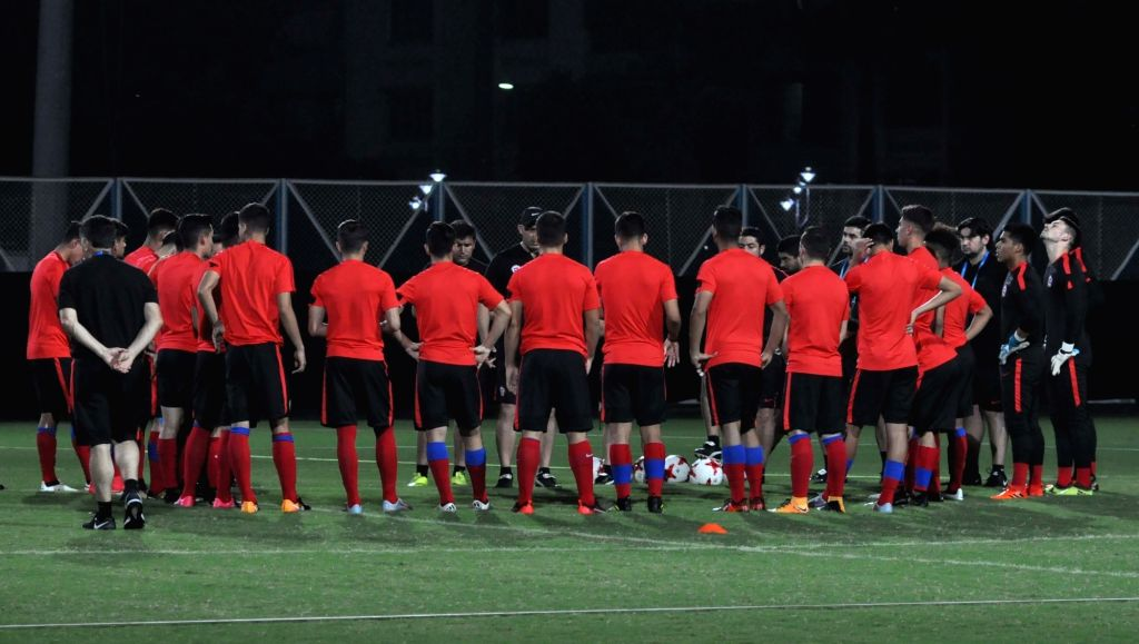 Chile players in action during a practice session ahead of the FIFA U 17 World Cup India 2017 Group F match against Iraq at the Salt Lake Stadium in Kolkata on Oct 10, 2017.