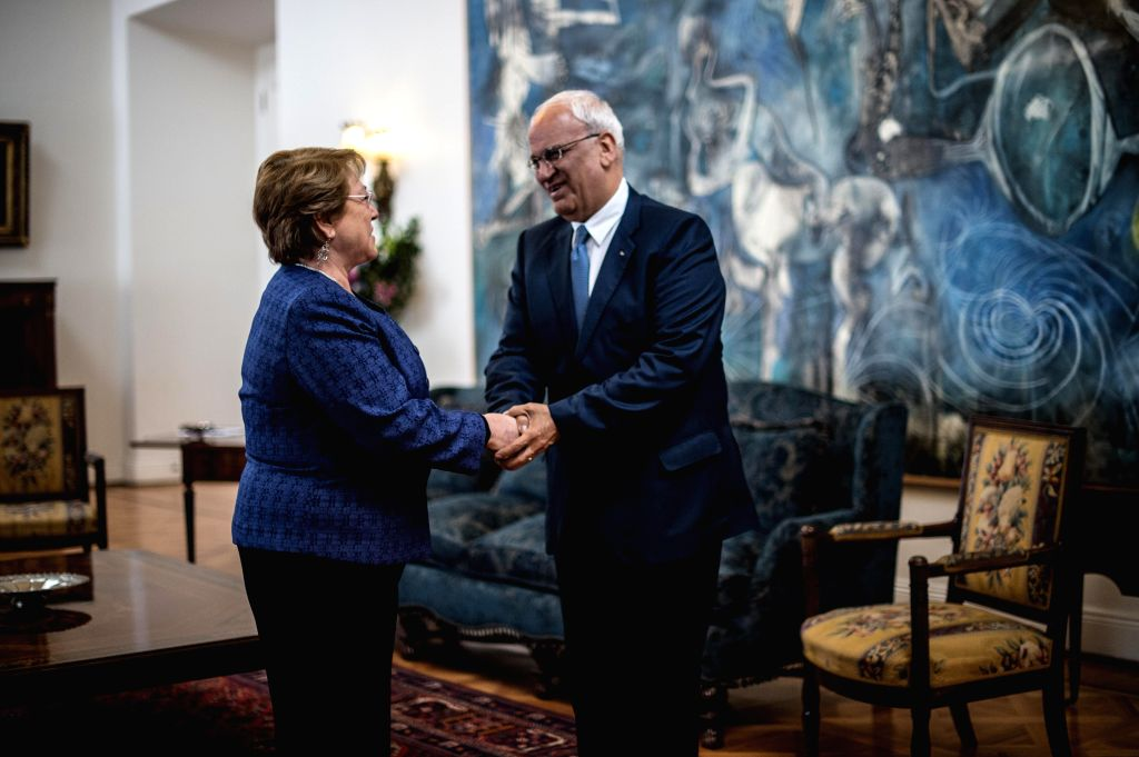 Chilean President Michelle Bachelet (L) meets with Secretary General of the Palestine Liberation Organization Executive Committee Saeb Erekat in Santiago, capital ...