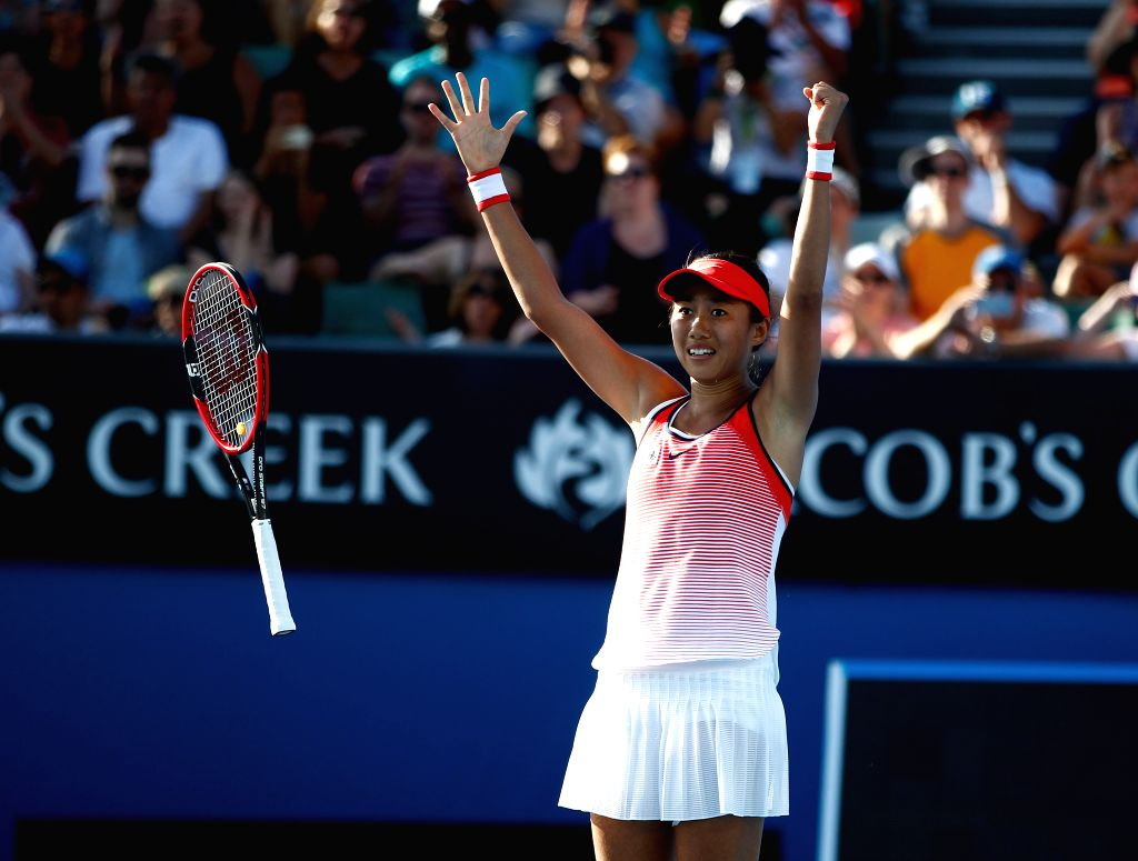 China's Zhang Shuai celebrates during the second round match of women's singles at the Australian Open Tennis Championships in Melbourne, Australia, Jan. 21, ...
