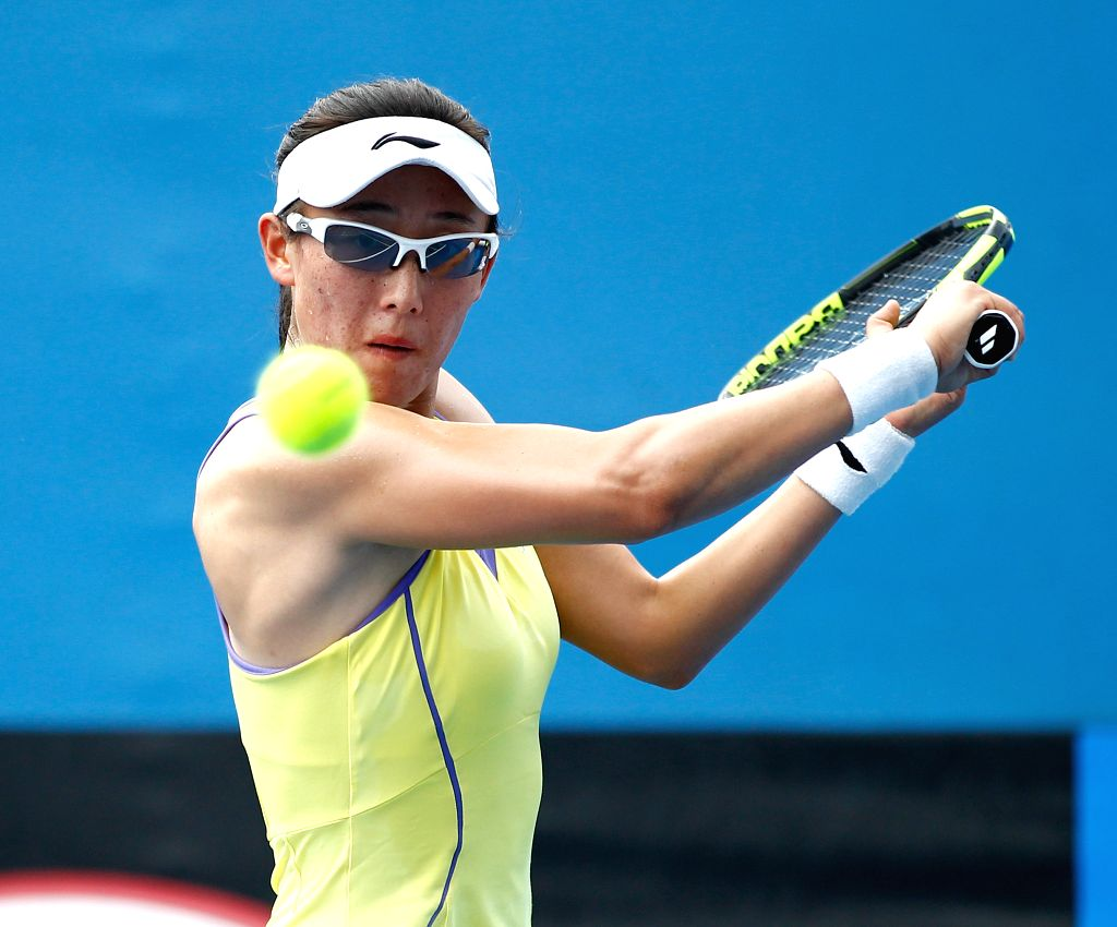 China's Zheng Saisai competes against Germany's Carina Witthoeft during the first round match of women's singles at the Australian Open Tennis Championships in ...