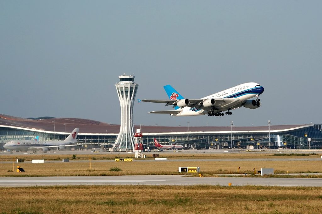China Southern Airlines flight CZ3001 takes off at the Daxing International Airport in Beijing, capital of China, Sept. 25, 2019.