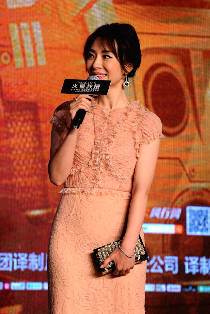 """Chinese actress Chen Shu attends the premiere of """"The Martian"""" in Beijing, capital of China, Nov. 20, 2015. """"The Martian"""" will hit Chinese ... - Chen Shu"""