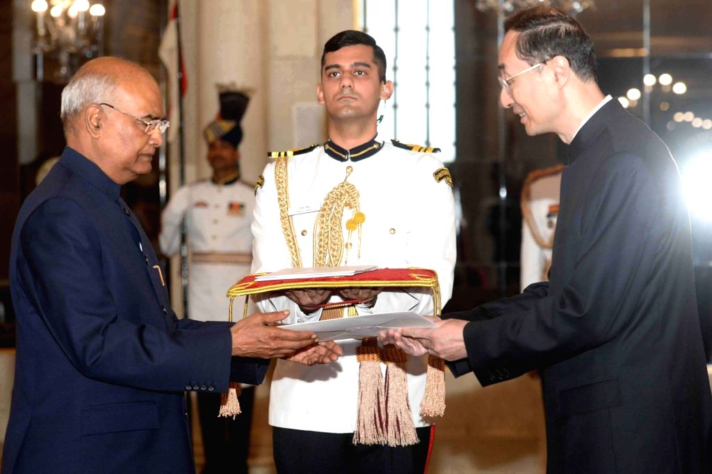 Chinese Ambassador Designate H.E. Sun Weidong presents his credentials to President Ram Nath Kovind at Rashtrapati Bhavan in New Delhi on Aug 28, 2019. - Nath Kovind
