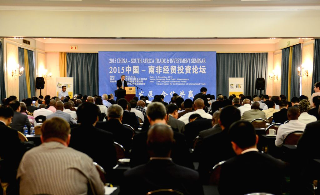 Chinese and South African business representatives attend the 2015 China-South Africa Trade & Investment Seminar in Johannesburg, South Africa, on Dec. 2, ...