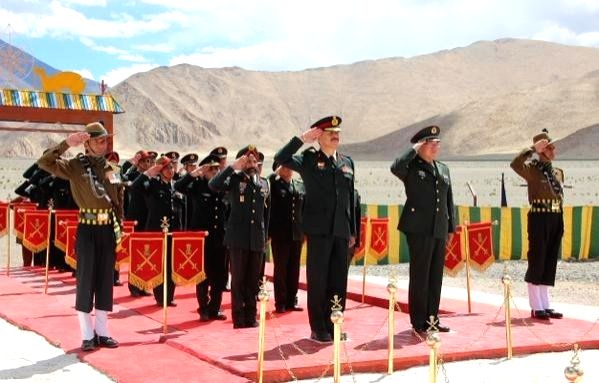 Chinese military delegation greets Indian army officials on Independence Day during a special Border Personnel Meeting at Chushul in Eastern Ladakh on Aug 15, 2015.