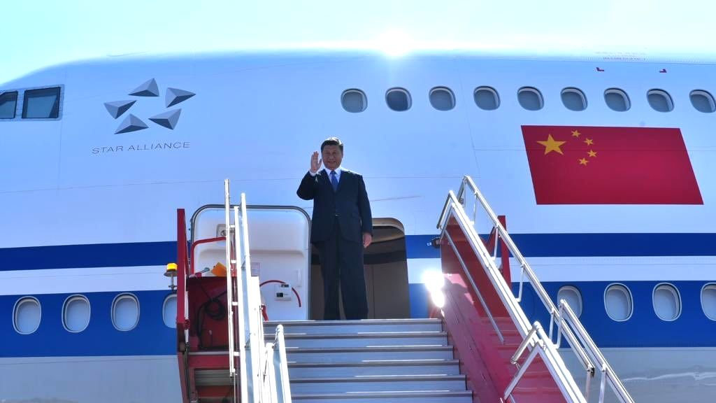 Chinese President Xi Jinping arrives in Chennai, ahead of an Informal Summit between India and China, on Oct 11, 2019.
