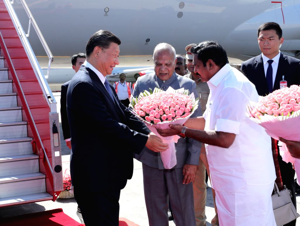 Chinese President Xi Jinping being welcomed by Tamil Nadu Governor Banwarilal Purohit and Chief Minister Edappadi K. Palaniswami on his arrival in Chennai, ahead of an Informal Summit ... - Edappadi K. Palaniswami