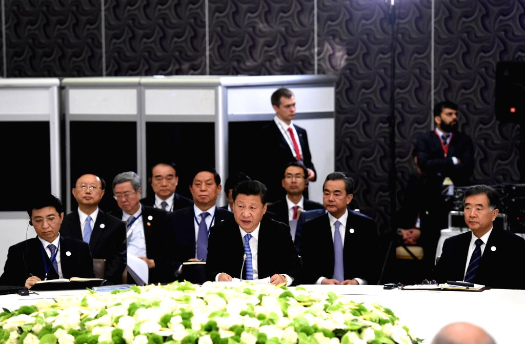 Chinese President Xi Jinping speaks at a BRICS leaders' meeting held in Antalya, Turkey, Nov. 15, 2015.