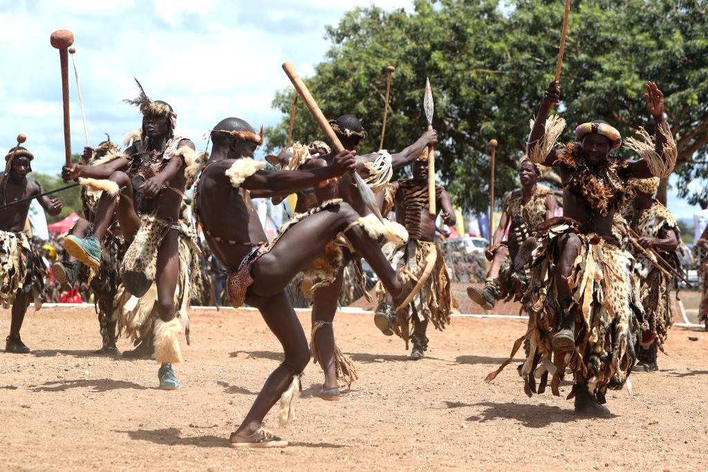 CHIPATA, Feb. 26, 2017 - Ngoni people dance during the Ncwala ceremony in Chipata, Zambia, Feb. 25, 2017. Traditional leaders and residents of Chipata town in eastern Zambia on Saturday celebrated in ...
