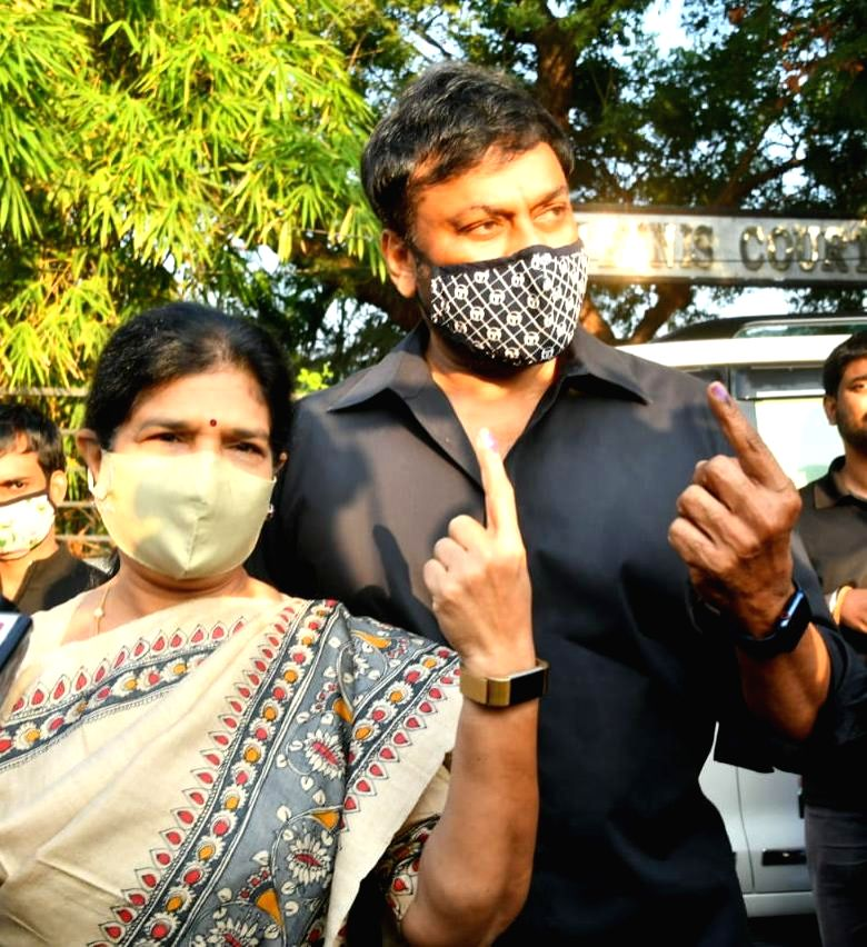 Chiranjeevi, Nagarjuna cast votes in Hyderabad polls.