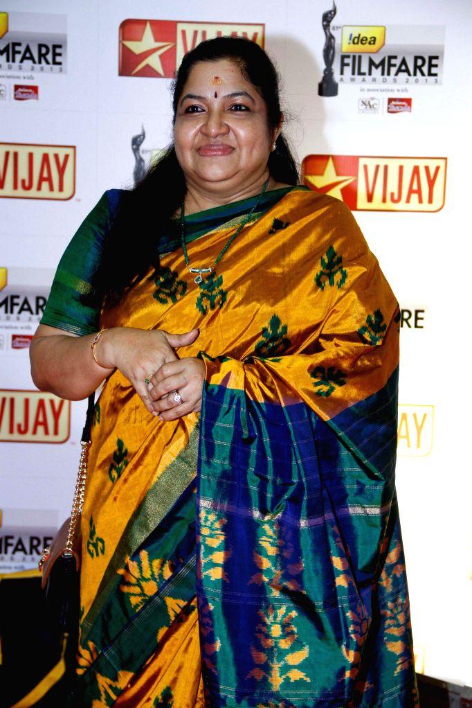 Chitra at the `61st Idea Filmfare South Awards 2013` held in Chennai at Nehru Stadium.