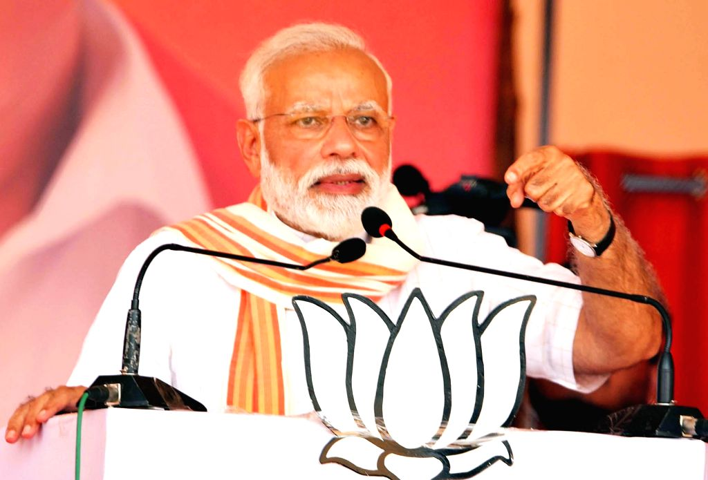 Chitradurga: Prime Minister Narendra Modi addresses during a public rally in Karnataka's Chitradurga, on April 9, 2019. (Photo: IANS) - Narendra Modi