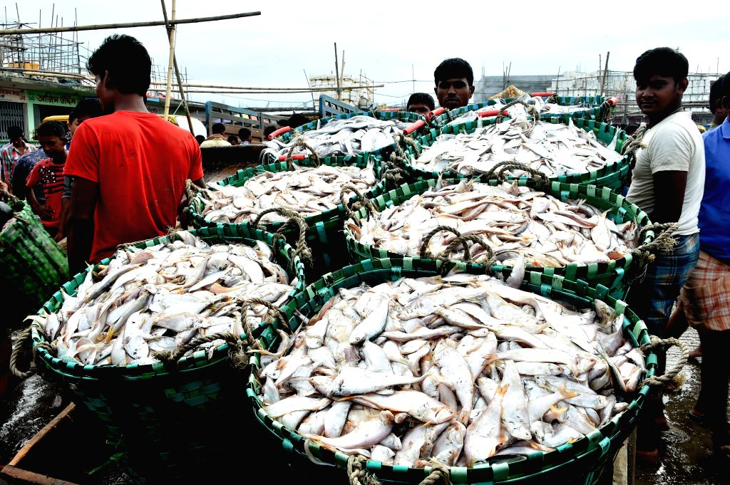 CHITTAGONG, Aug. 26, 2019 - Vendors sell fish at a fish market in Bangladesh's seaport city of Chittagong on Aug. 24, 2019.