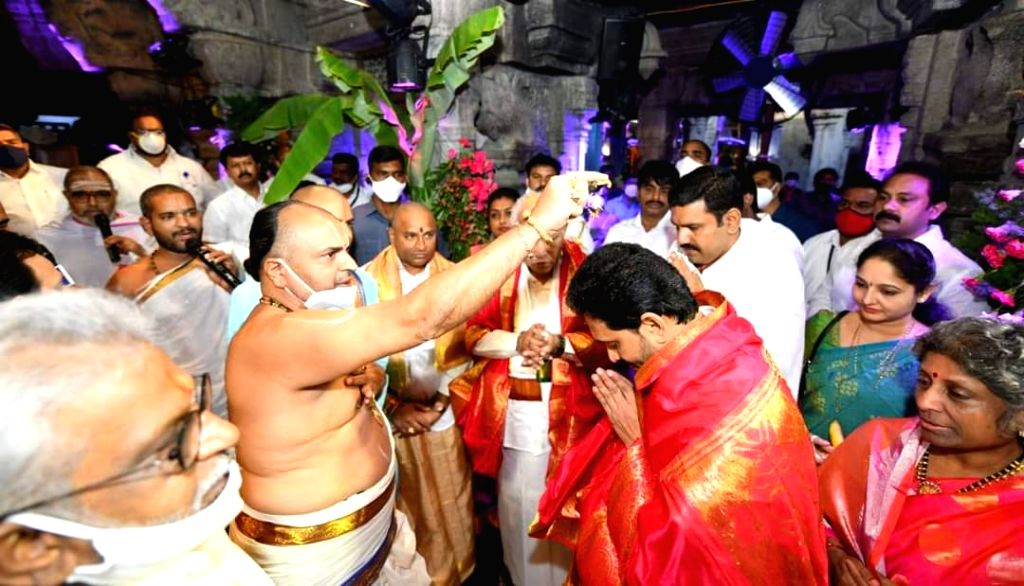 Chittoor: Andhra Pradesh Chief Minister YS Jaganmohan Reddy and his Karnataka counterpart BS Yediyurappa visited Lord Balaji temple in Tirumala at Tirupati in Chittoor district of the state for darshan, on Sep 24, 2020. Tirumala Tirupati Devasthanams - Jaganmohan Reddy