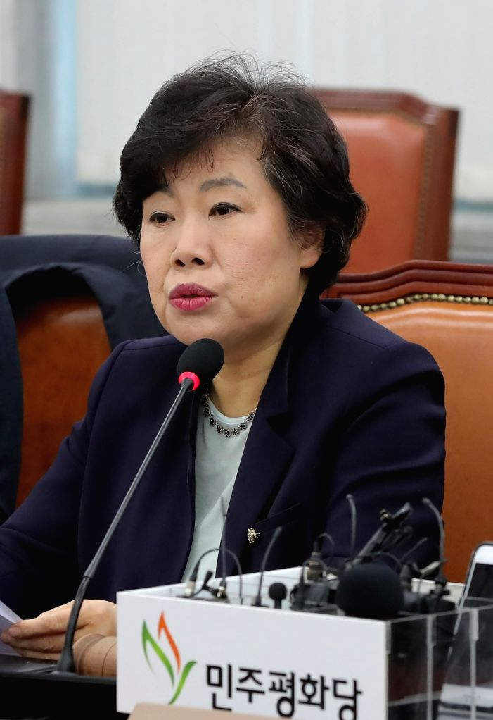 Cho Bae-sook, chief of the liberal Party for Democracy and Peace, speaks during a meeting of the party's lawmakers at the National Assembly in Seoul on Feb. 13, 2018, one week after a group of ...