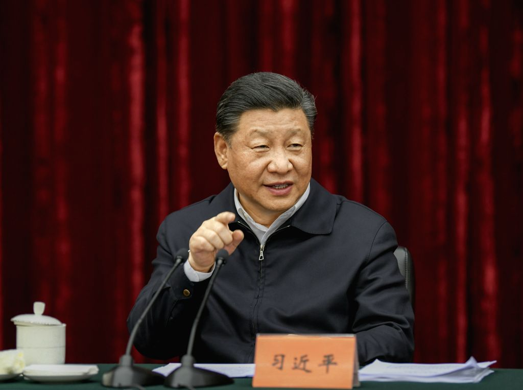 CHONGQING, April 16, 2019 (Xinhua) -- Chinese President Xi Jinping, also general secretary of the Communist Party of China Central Committee and chairman of the Central Military Commission, presides over a symposium about solving prominent problems i