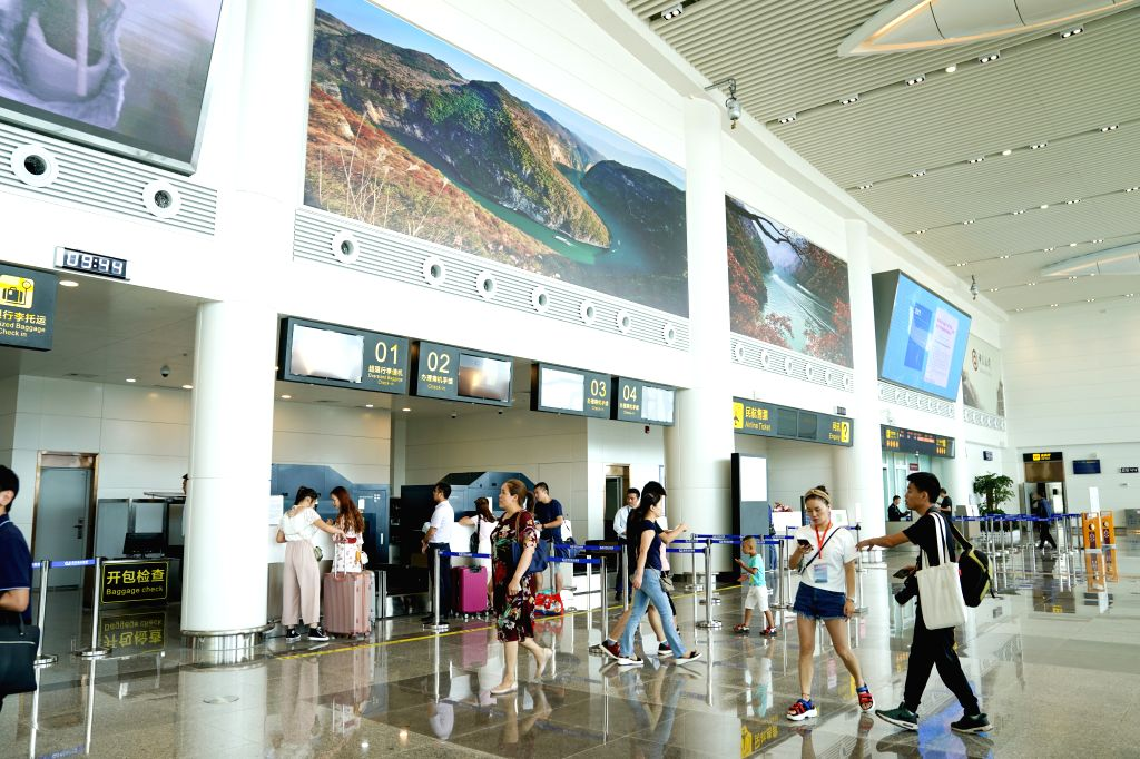 CHONGQING, Aug. 16, 2019 - Photo taken on Aug. 16, 2019 shows the waiting hall of the Wushan Airport in Chongqing, southwest China. The successful landing of China Express's flight G52685 on the ...