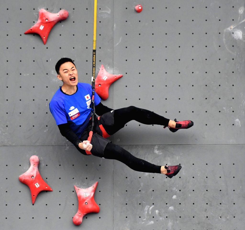CHONGQING, Nov. 16, 2019 - Japan's Takeda Hajime celebrates after winning the male youth A combined speed overall final against his compatriot Nukui Ryoei at the 2019 Asian Combined Youth ...