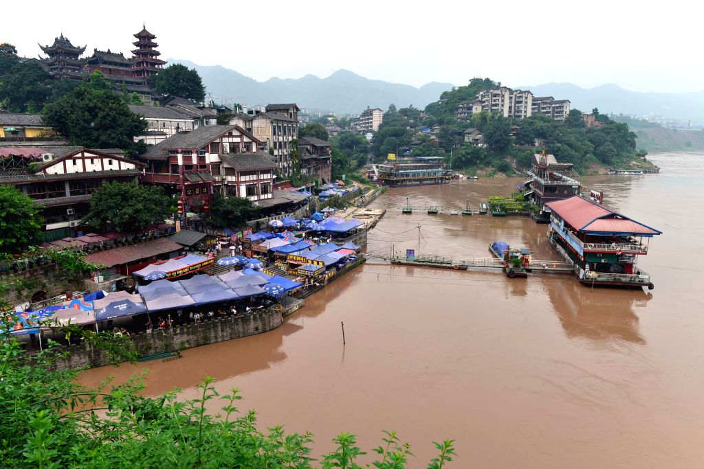 The water level of the Jialing River rises in Ciqikou ancient town in the Shapingba District of Chongqing, southwest China, Sept. 12, 2014. Persistant rainfall ..