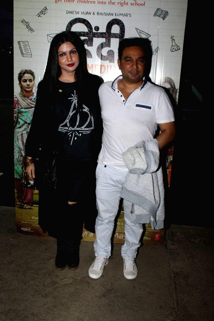 Choreographer Ahmed Khan with his wife Shaira Khan during the screening of the film Hindi Medium in Mumbai on May 16, 2017. - Ahmed Khan and Shaira Khan