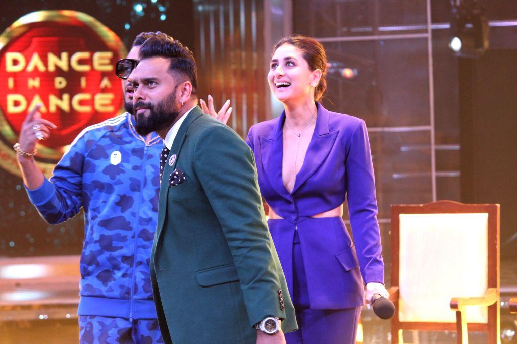 "Choreographer Bosco Martis, rapper Raftaar and actress Kareena Kapoor Khan on the sets of dance reality show ""Dance India Dance"" in Mumbai, on May 30, 2019. - Kareena Kapoor Khan"